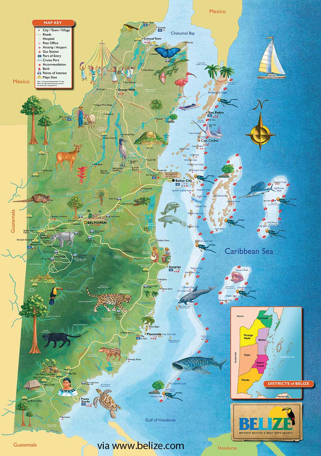 Belize country map with activities and points of interest – click on