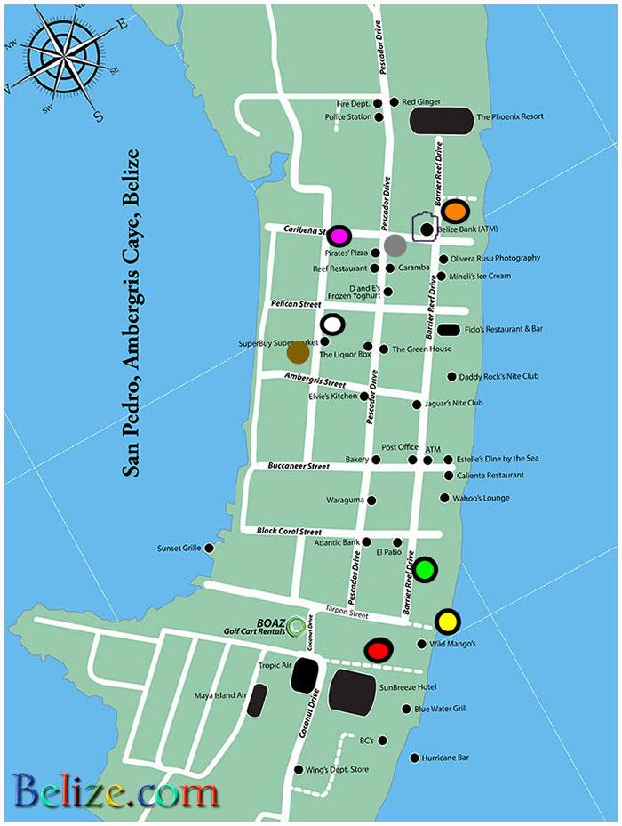 san-pedro-ambergris-caye-downtown-map