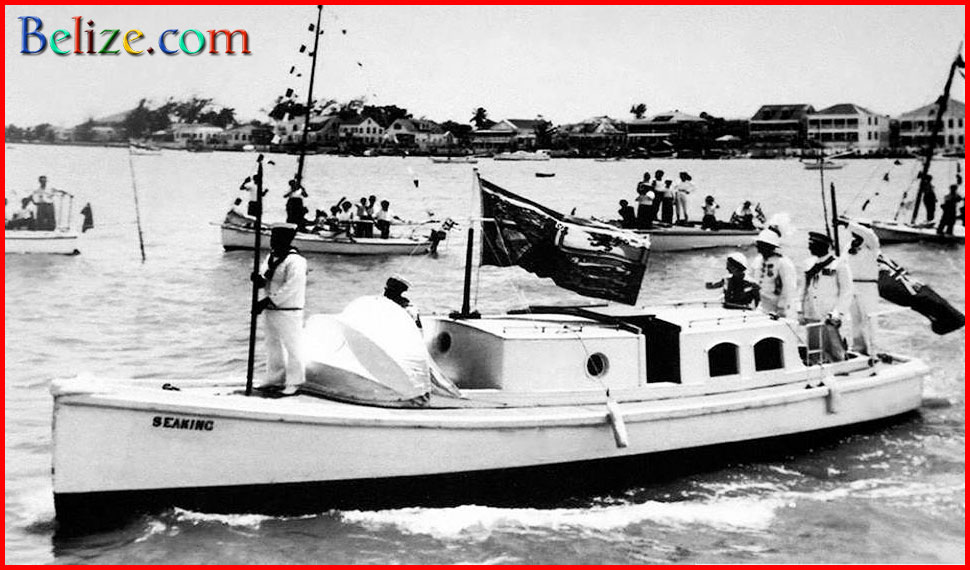 The only known photograph of Baron Bliss' yacht tender Sea King in the Belize Harbor. This image is undated bit it is believed to be from 1958, coincidentally the same year Princess Margaret visited Belize.