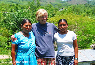 Joan Fry with former students in Belize