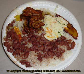 Belize Stew Beans and White Rice served with stewed chicken, coleslaw ...