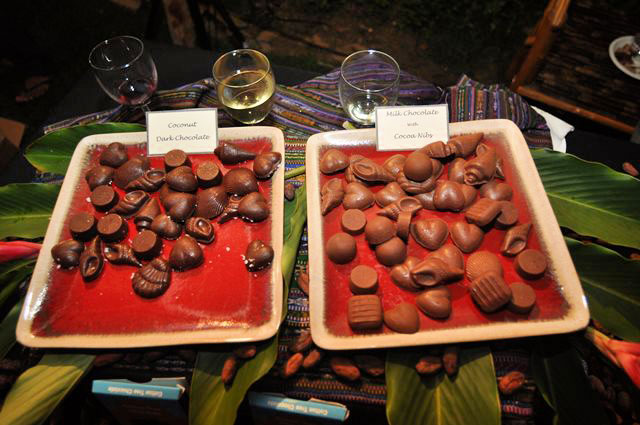 Chocolate and wine samples on display at the Toledo Chocolate Festival.