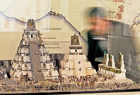 Model of Tikal Maya Ruin.