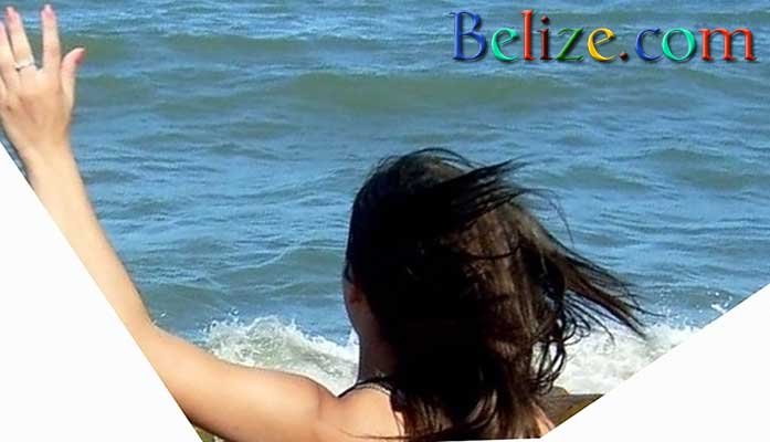 Belize woman summer fun at southern Belize beach